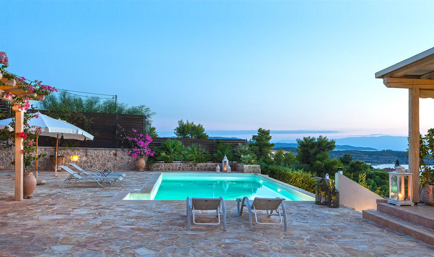 Porto Heli villa pool view